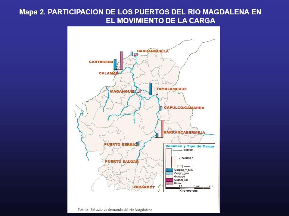 Mapa 2. PARTICIPACION DE LOS PUERTOS DEL RIO MAGDALENA EN EL MOVIMIENTO DE LA CARGA