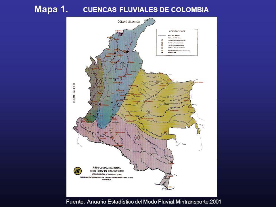Mapa 1. CUENCAS FLUVIALES DE COLOMBIA Fuente: Anuario Estadístico del Modo Fluvial.Mintransporte,2001