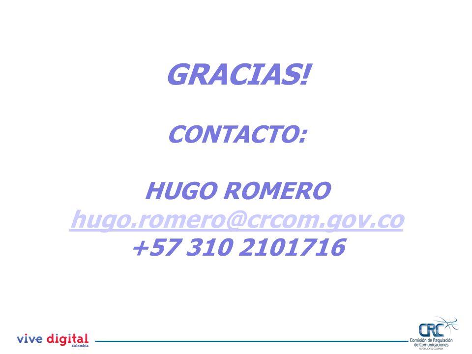 GRACIAS! CONTACTO: HUGO ROMERO hugo.romero@crcom.gov.co +57 310 2101716
