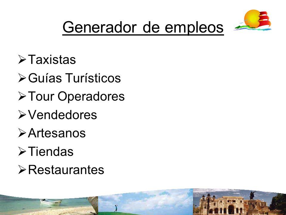 Generador de empleos Taxistas Guías Turísticos Tour Operadores Vendedores Artesanos Tiendas Restaurantes