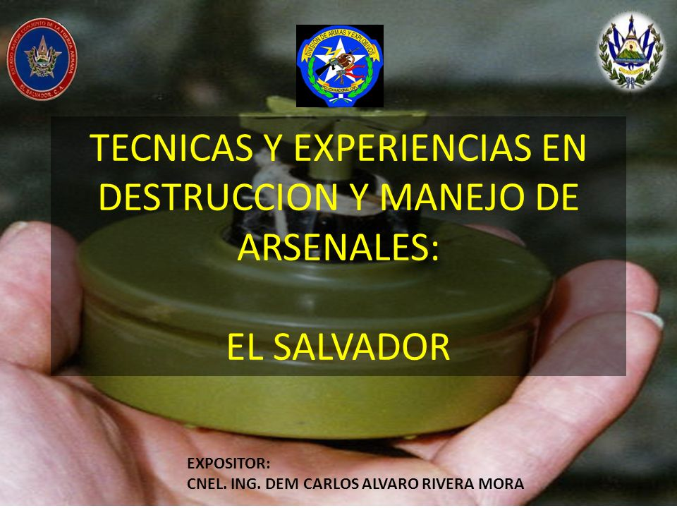 TECNICAS Y EXPERIENCIAS EN DESTRUCCION Y MANEJO DE ARSENALES: EL SALVADOR EXPOSITOR: CNEL. ING. DEM CARLOS ALVARO RIVERA MORA