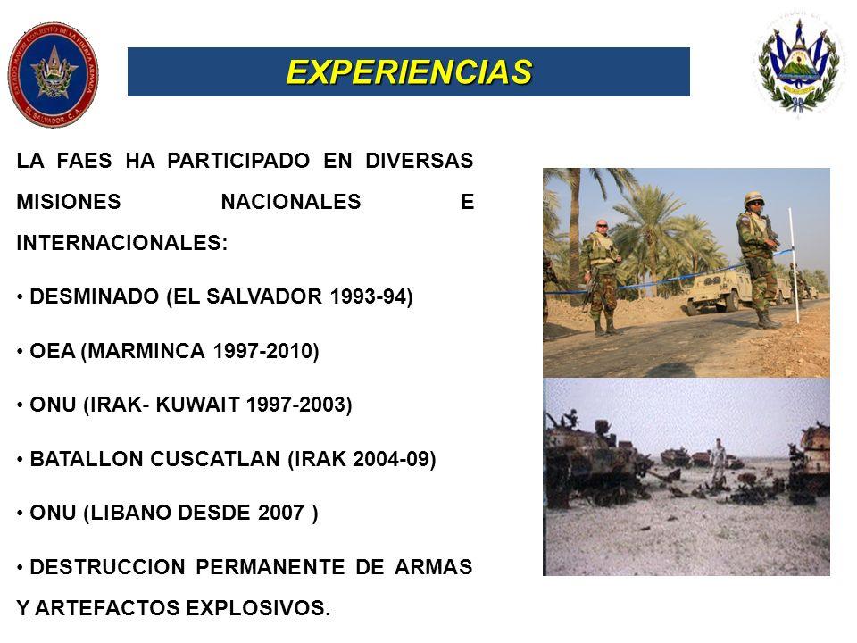EXPERIENCIAS LA FAES HA PARTICIPADO EN DIVERSAS MISIONES NACIONALES E INTERNACIONALES: DESMINADO (EL SALVADOR 1993-94) OEA (MARMINCA 1997-2010) ONU (I