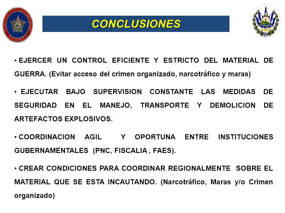 CONCLUSIONES EJERCER UN CONTROL EFICIENTE Y ESTRICTO DEL MATERIAL DE GUERRA. (Evitar acceso del crimen organizado, narcotráfico y maras) EJECUTAR BAJO