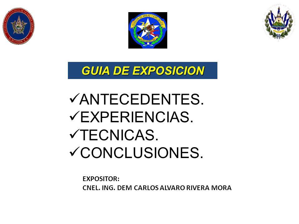 EXPOSITOR: CNEL. ING. DEM CARLOS ALVARO RIVERA MORA GUIA DE EXPOSICION ANTECEDENTES. EXPERIENCIAS. TECNICAS. CONCLUSIONES.