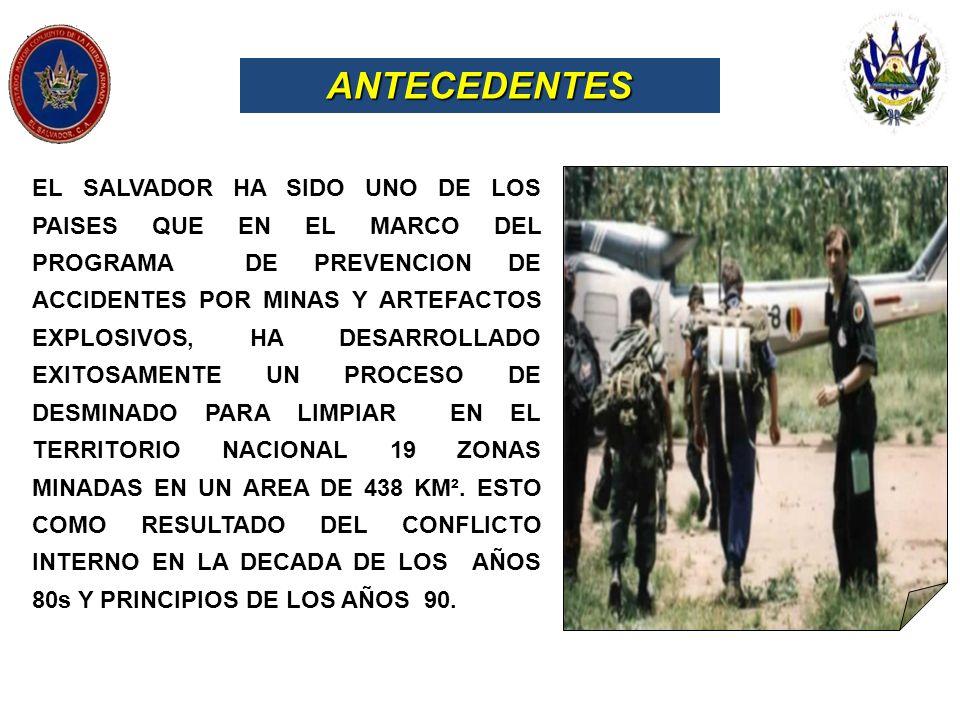 EL SALVADOR HA SIDO UNO DE LOS PAISES QUE EN EL MARCO DEL PROGRAMA DE PREVENCION DE ACCIDENTES POR MINAS Y ARTEFACTOS EXPLOSIVOS, HA DESARROLLADO EXIT