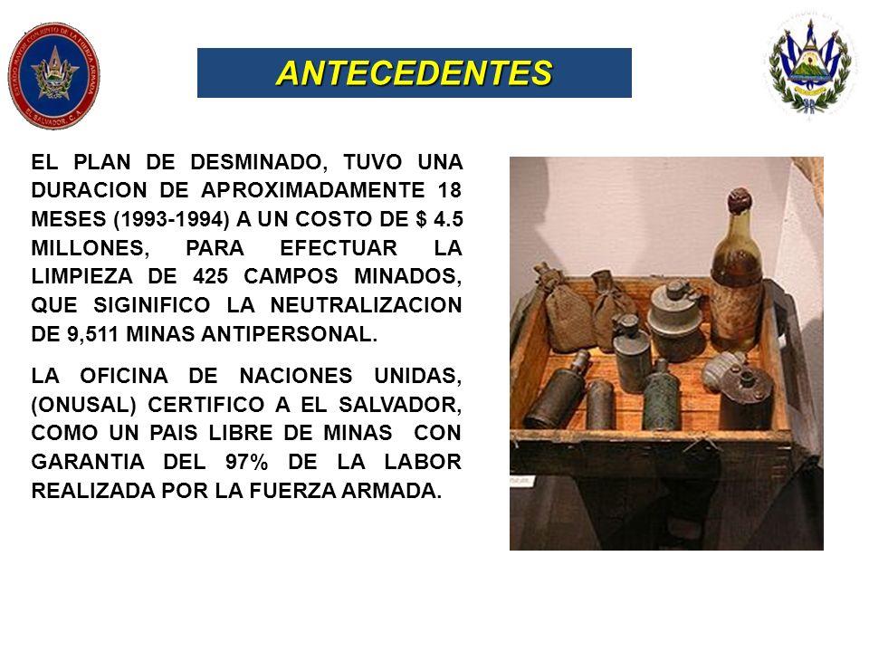 ANTECEDENTES EL PLAN DE DESMINADO, TUVO UNA DURACION DE APROXIMADAMENTE 18 MESES (1993-1994) A UN COSTO DE $ 4.5 MILLONES, PARA EFECTUAR LA LIMPIEZA D