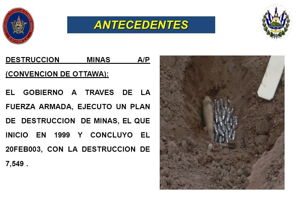 ANTECEDENTES DESTRUCCION MINAS A/P (CONVENCION DE OTTAWA): EL GOBIERNO A TRAVES DE LA FUERZA ARMADA, EJECUTO UN PLAN DE DESTRUCCION DE MINAS, EL QUE I