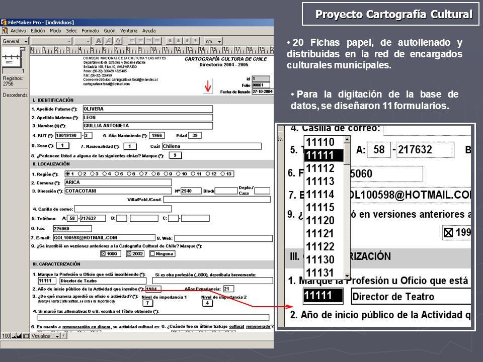20 Fichas papel, de autollenado y distribuidas en la red de encargados culturales municipales. Para la digitación de la base de datos, se diseñaron 11