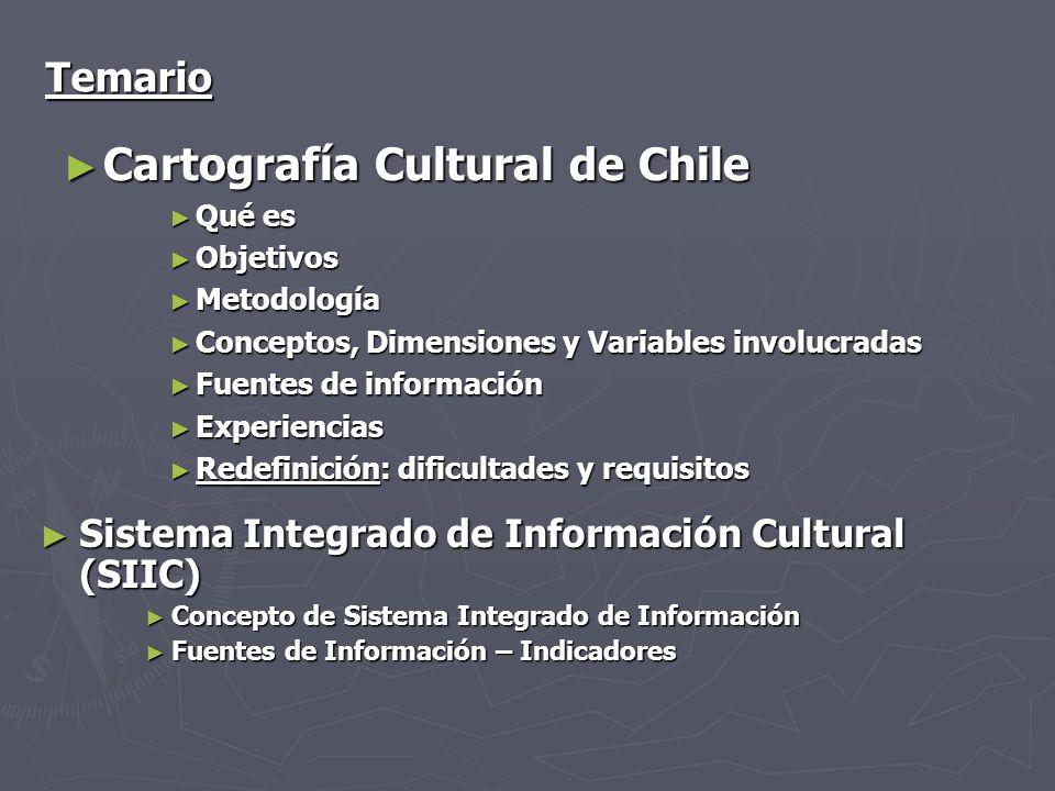 Temario Cartografía Cultural de Chile Cartografía Cultural de Chile Qué es Qué es Objetivos Objetivos Metodología Metodología Conceptos, Dimensiones y
