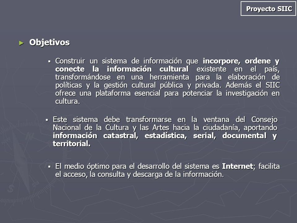 Objetivos Objetivos Construir un sistema de información que incorpore, ordene y conecte la información cultural existente en el país, transformándose