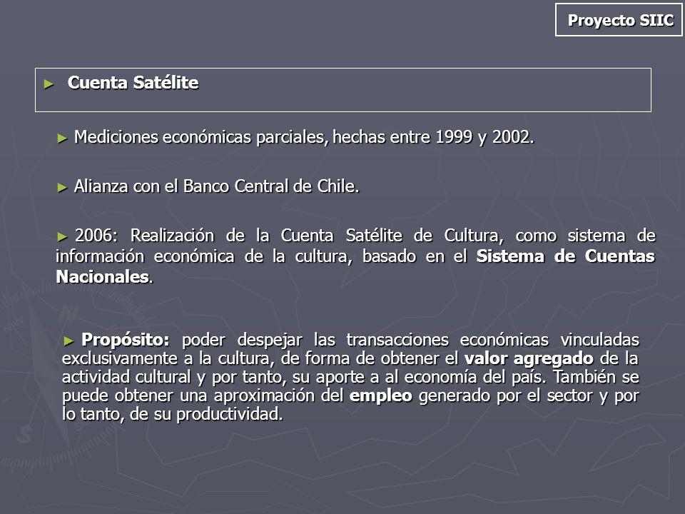 Cuenta Satélite Cuenta Satélite Mediciones económicas parciales, hechas entre 1999 y 2002. Mediciones económicas parciales, hechas entre 1999 y 2002.