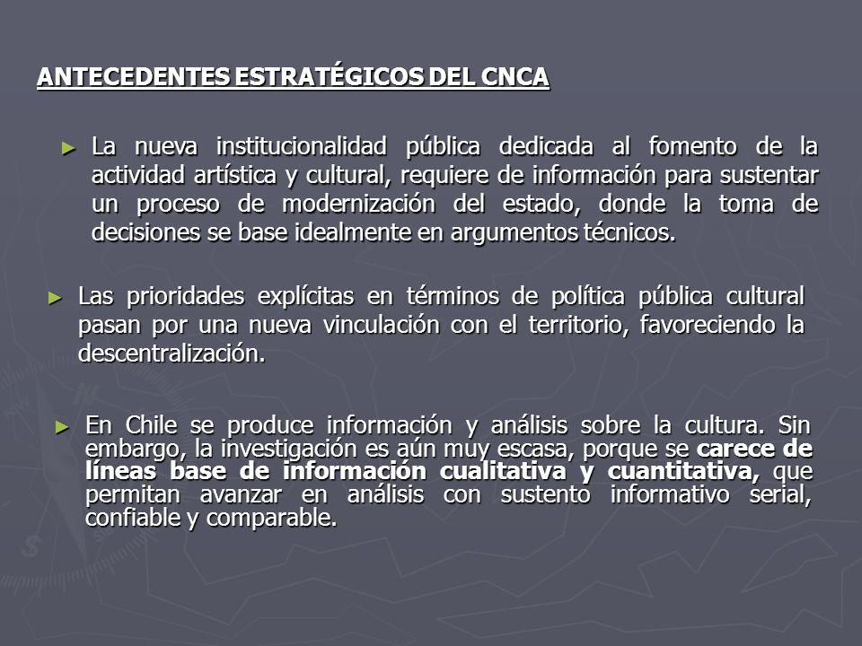 ANTECEDENTES ESTRATÉGICOS DEL CNCA En Chile se produce información y análisis sobre la cultura. Sin embargo, la investigación es aún muy escasa, porqu