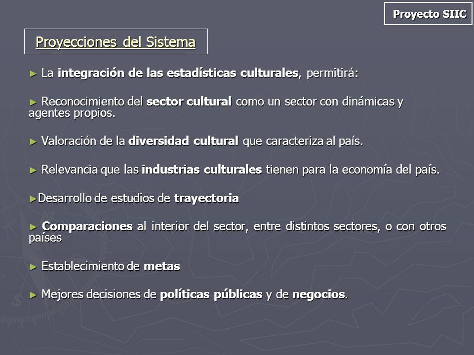 Proyecto SIIC La integración de las estadísticas culturales, permitirá: La integración de las estadísticas culturales, permitirá: Reconocimiento del s