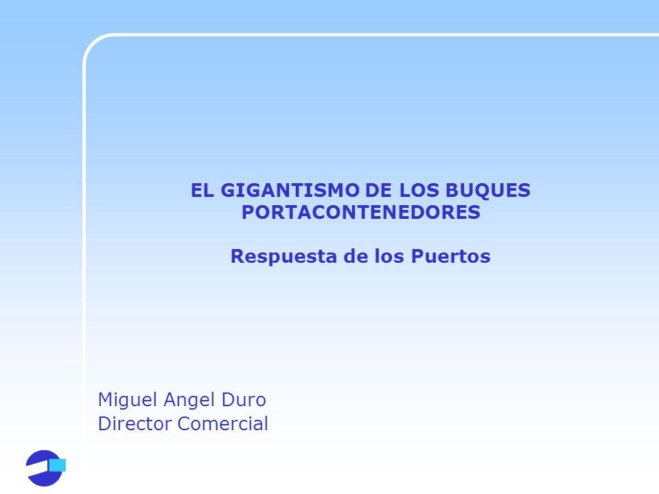 EL GIGANTISMO DE LOS BUQUES PORTACONTENEDORES Respuesta de los Puertos Miguel Angel Duro Director Comercial