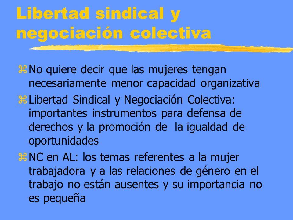 Libertad sindical y negociación colectiva z No quiere decir que las mujeres tengan necesariamente menor capacidad organizativa z Libertad Sindical y N