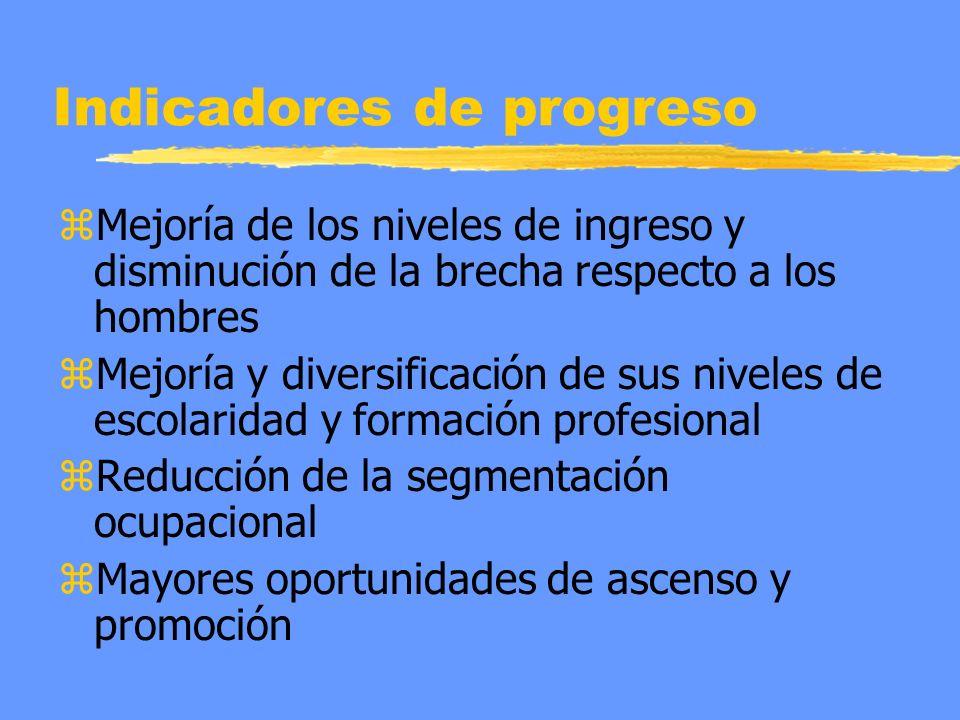 Indicadores de progreso zMejoría de los niveles de ingreso y disminución de la brecha respecto a los hombres zMejoría y diversificación de sus niveles