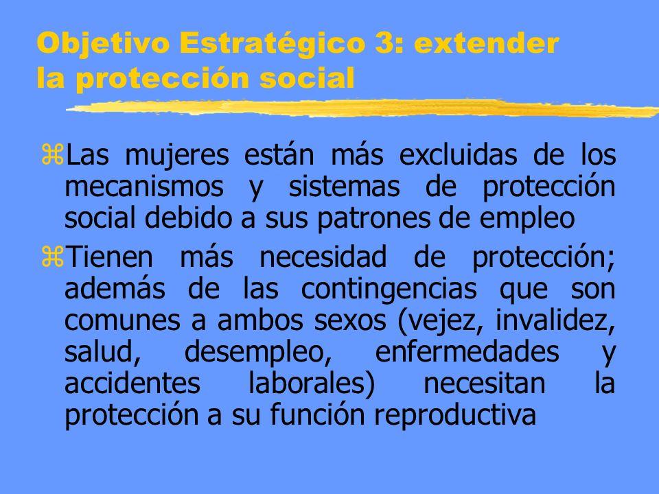 Objetivo Estratégico 3: extender la protección social z Las mujeres están más excluidas de los mecanismos y sistemas de protección social debido a sus