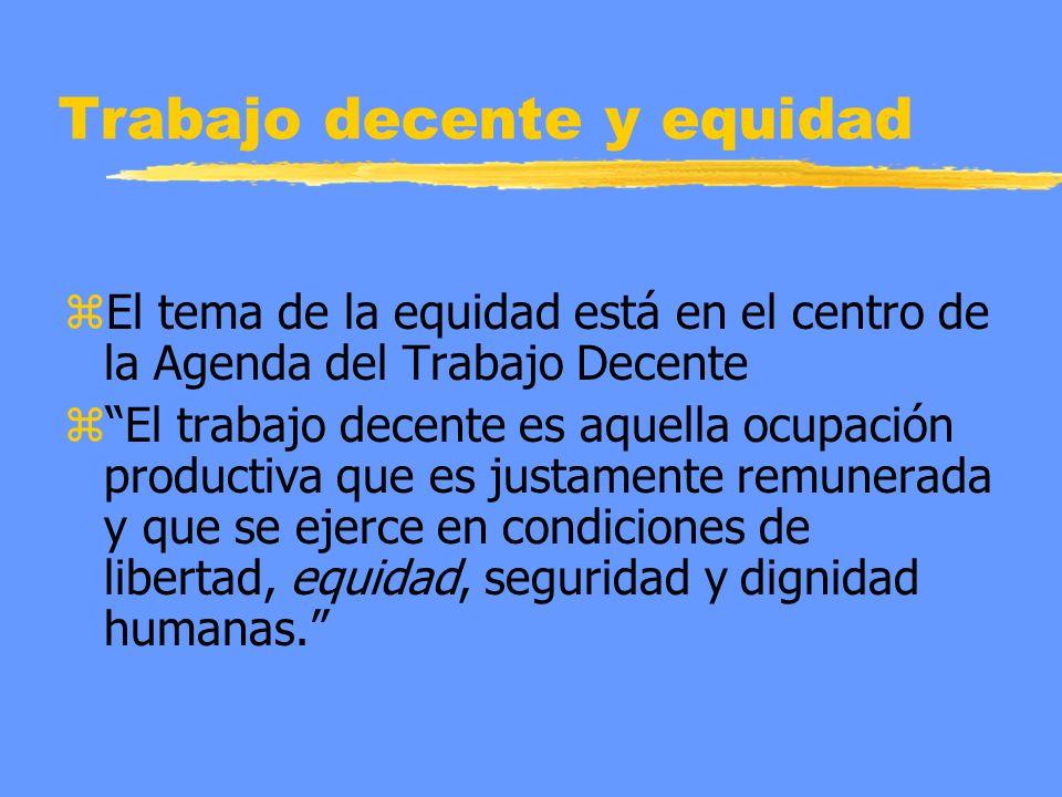 Trabajo decente y equidad z El tema de la equidad está en el centro de la Agenda del Trabajo Decente z El trabajo decente es aquella ocupación product