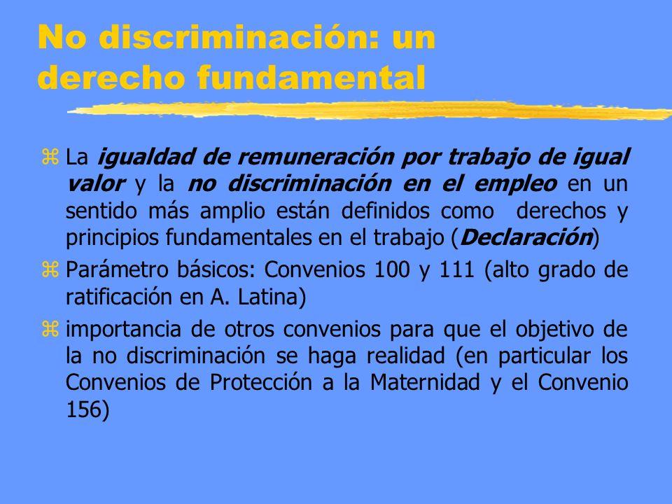 No discriminación: un derecho fundamental z La igualdad de remuneración por trabajo de igual valor y la no discriminación en el empleo en un sentido m