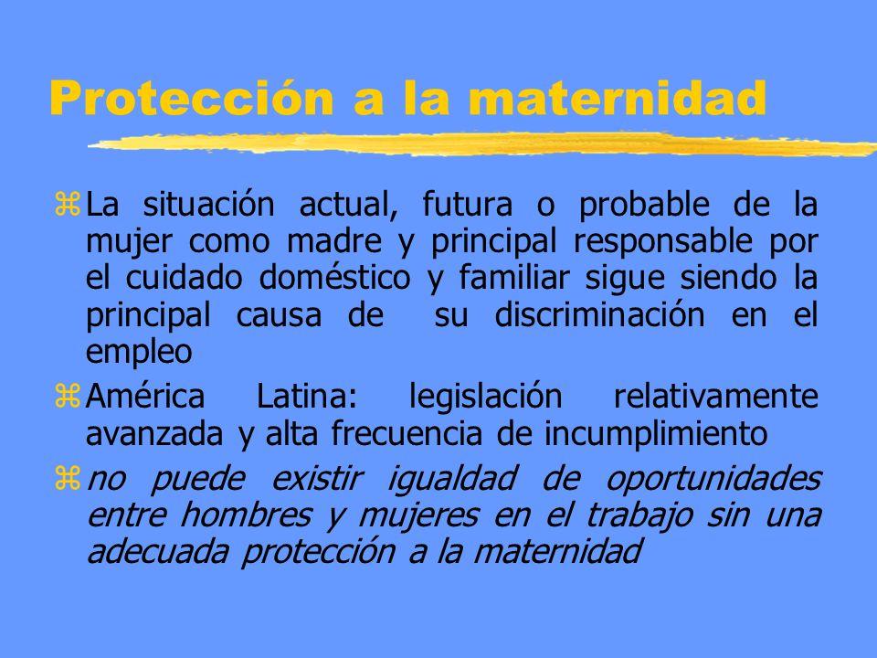 Protección a la maternidad z La situación actual, futura o probable de la mujer como madre y principal responsable por el cuidado doméstico y familiar