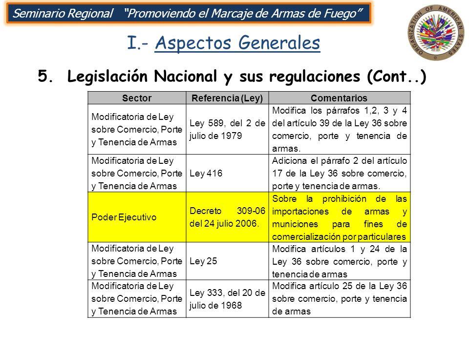 I.- Aspectos Generales 5. Legislación Nacional y sus regulaciones (Cont..) SectorReferencia (Ley)Comentarios Modificatoria de Ley sobre Comercio, Port