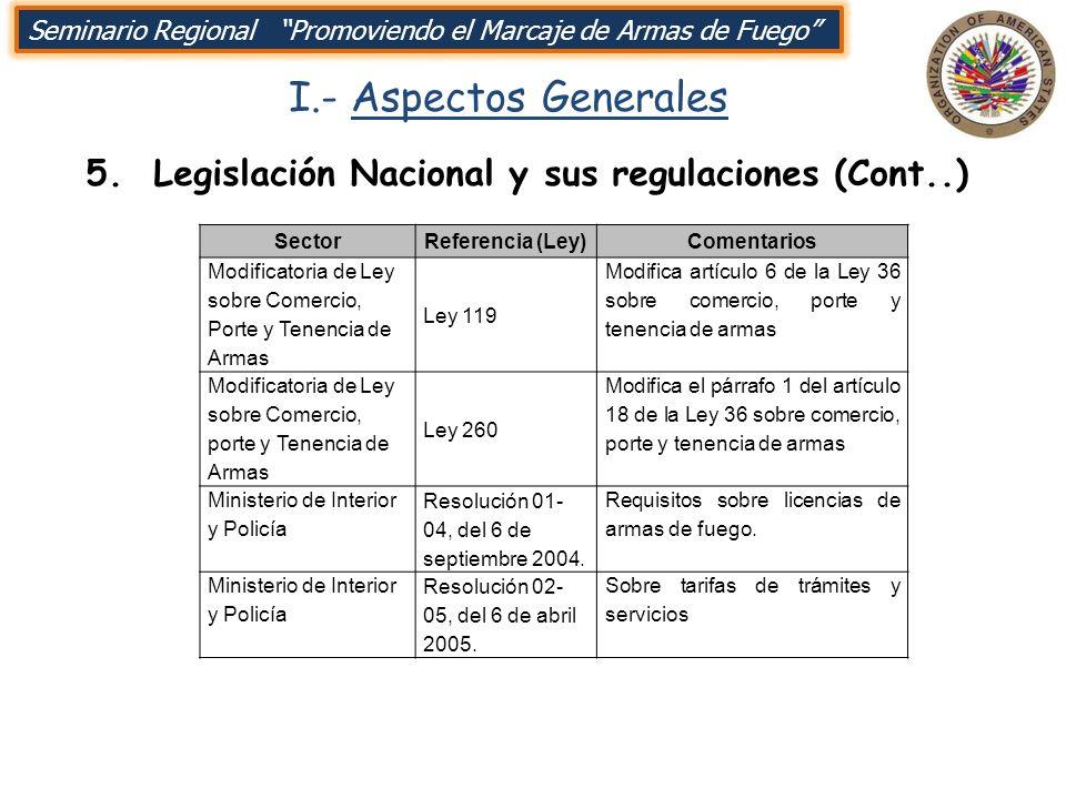 I.- Aspectos Generales SectorReferencia (Ley)Comentarios Modificatoria de Ley sobre Comercio, Porte y Tenencia de Armas Ley 119 Modifica artículo 6 de