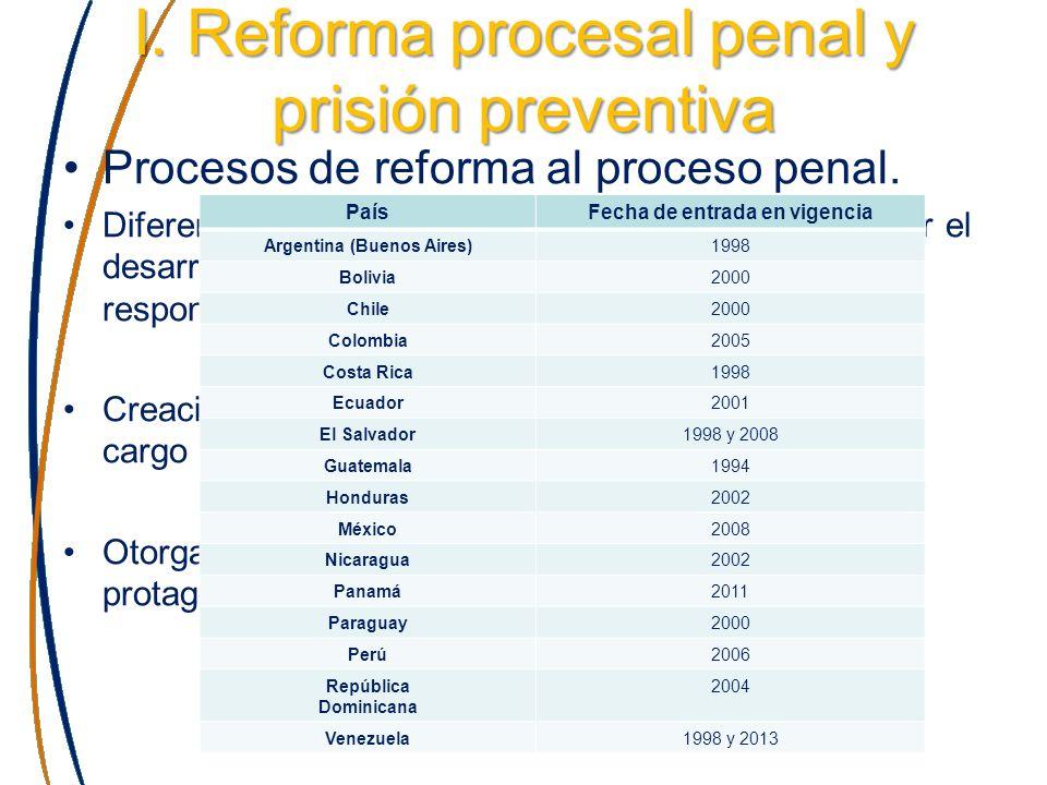 I. Reforma procesal penal y prisión preventiva Procesos de reforma al proceso penal. Diferenciación entre funciones de investigar, controlar el desarr
