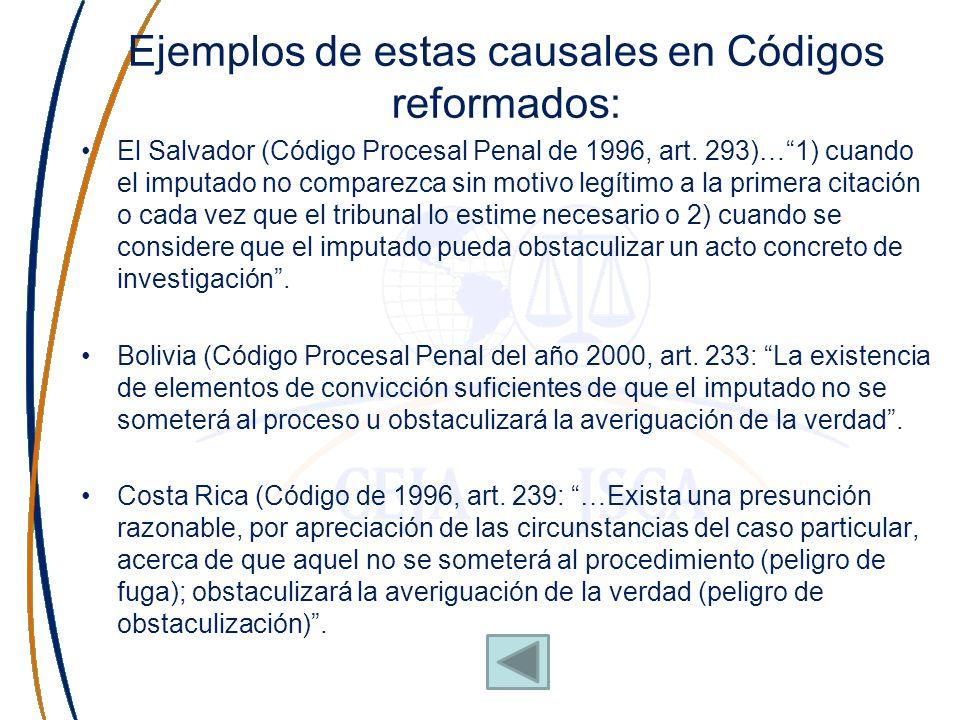 Ejemplos de estas causales en Códigos reformados: El Salvador (Código Procesal Penal de 1996, art. 293)…1) cuando el imputado no comparezca sin motivo