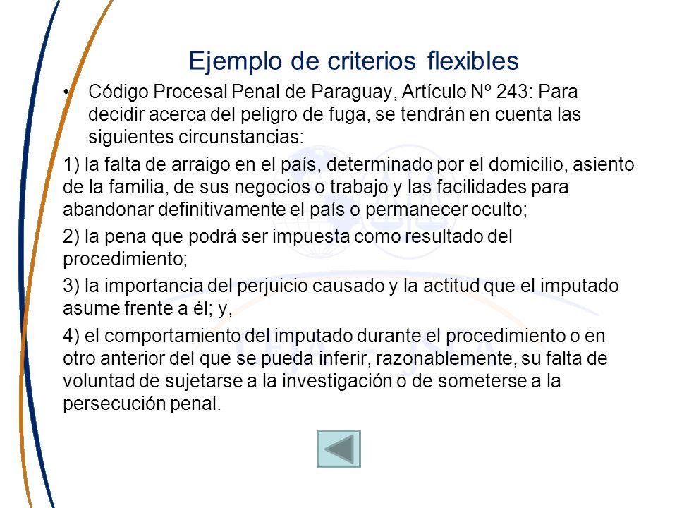 Ejemplo de criterios flexibles Código Procesal Penal de Paraguay, Artículo Nº 243: Para decidir acerca del peligro de fuga, se tendrán en cuenta las s