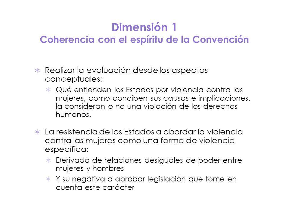 Dimensión 1 Coherencia con el espíritu de la Convención Realizar la evaluación desde los aspectos conceptuales: Qué entienden los Estados por violenci