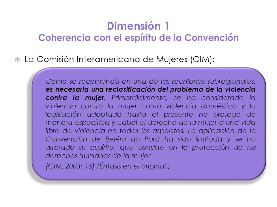 Dimensión 1 Coherencia con el espíritu de la Convención La Comisión Interamericana de Mujeres (CIM): Como se recomendó en una de las reuniones subregi