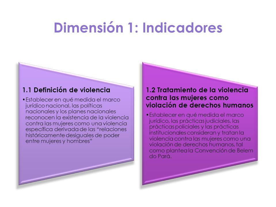 Dimensión 1: Indicadores 1.1 Definición de violencia Establecer en qué medida el marco jurídico nacional, las políticas nacionales y los planes nacion