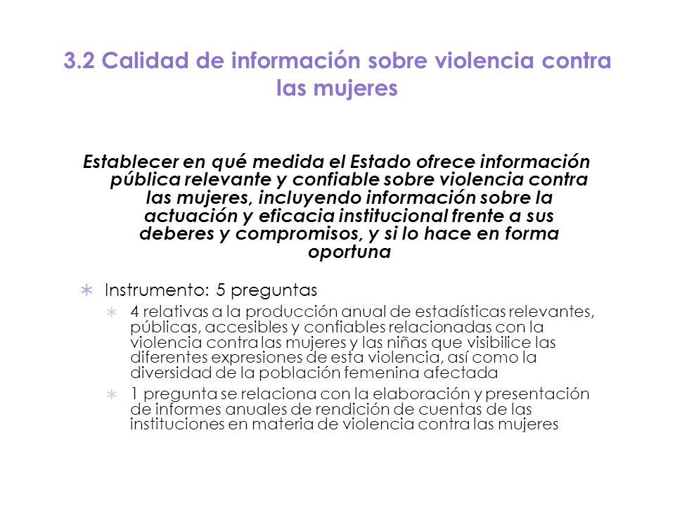 3.2 Calidad de información sobre violencia contra las mujeres Establecer en qué medida el Estado ofrece información pública relevante y confiable sobr