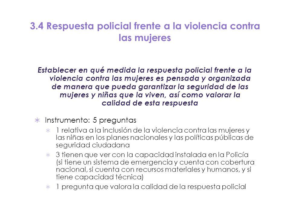 3.4 Respuesta policial frente a la violencia contra las mujeres Establecer en qué medida la respuesta policial frente a la violencia contra las mujere