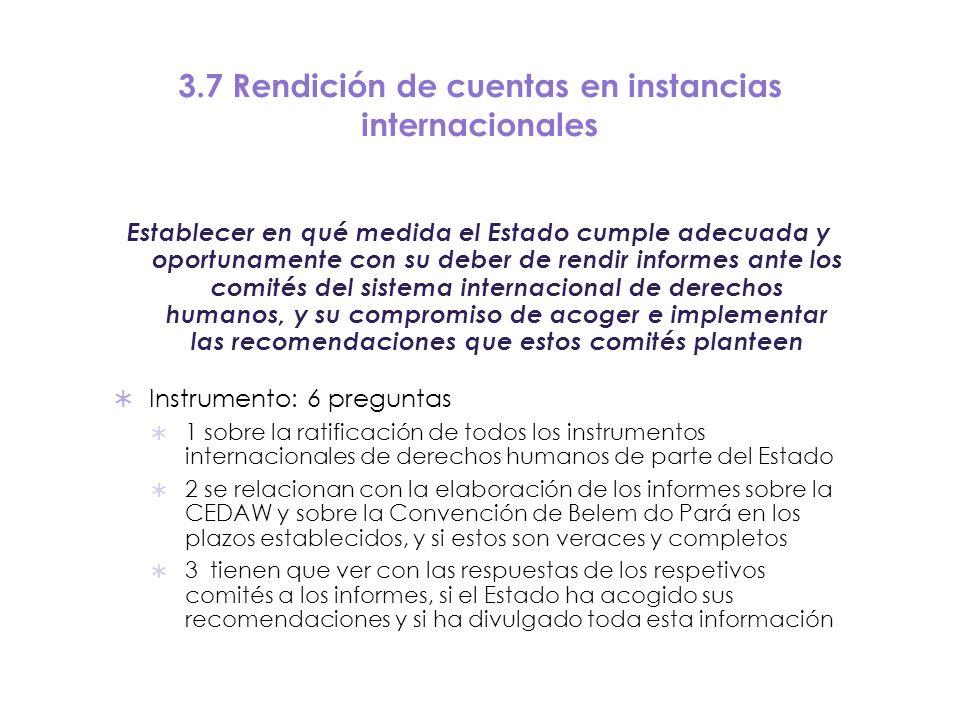 3.7 Rendición de cuentas en instancias internacionales Establecer en qué medida el Estado cumple adecuada y oportunamente con su deber de rendir infor