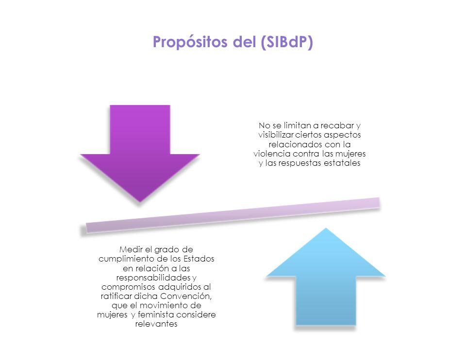 Propósitos del (SIBdP) No se limitan a recabar y visibilizar ciertos aspectos relacionados con la violencia contra las mujeres y las respuestas estata