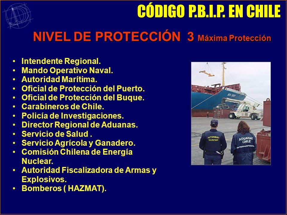 NIVEL DE PROTECCIÓN 2 Protección Intensificada OFICIALES DE PROTECCIÓN AA.MM - NAVAL CÓDIGO P.B.I.P. EN CHILE COMITÉ REGIONAL DE PROTECCIÓN SERVICIOS