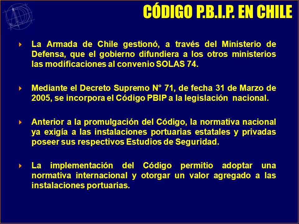 La Armada de Chile gestionó, a través del Ministerio de Defensa, que el gobierno difundiera a los otros ministerios las modificaciones al convenio SOLAS 74.