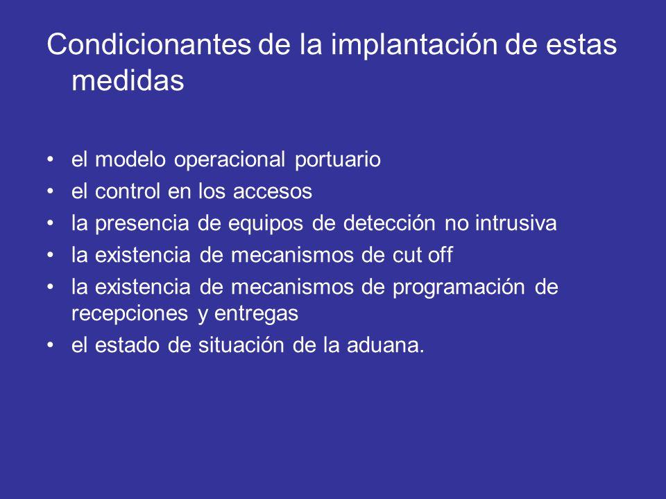 Condicionantes de la implantación de estas medidas el modelo operacional portuario el control en los accesos la presencia de equipos de detección no i