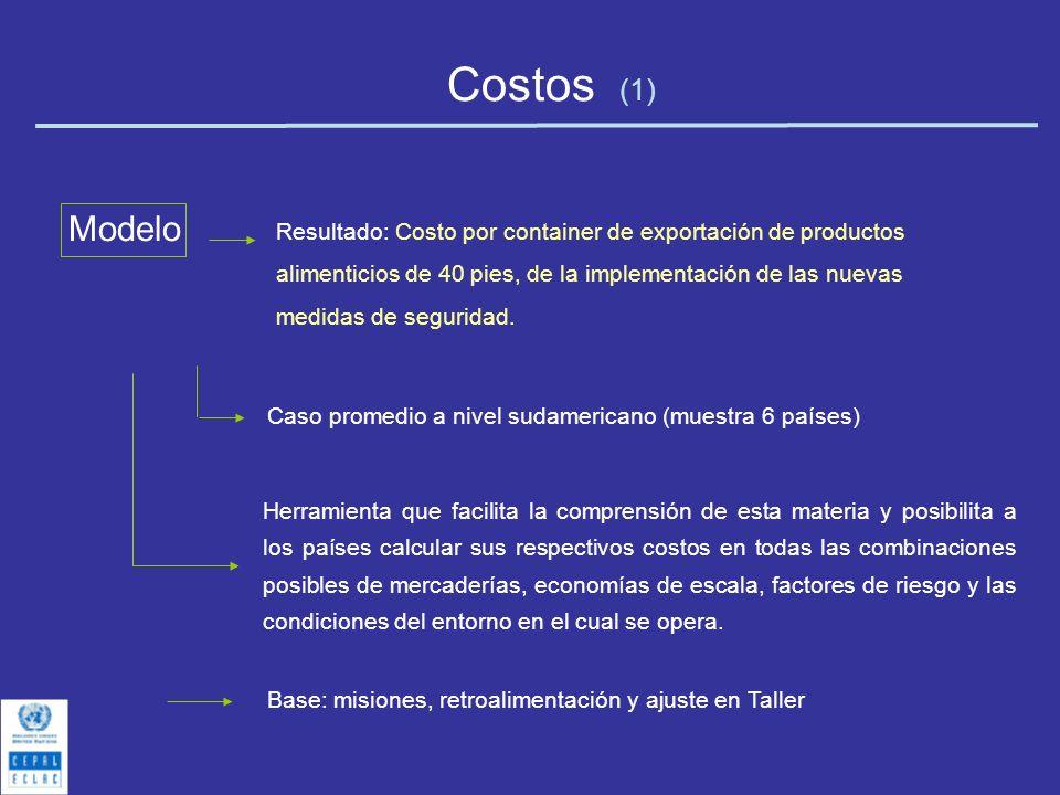 Costos (1) Modelo Caso promedio a nivel sudamericano (muestra 6 países) Herramienta que facilita la comprensión de esta materia y posibilita a los paí