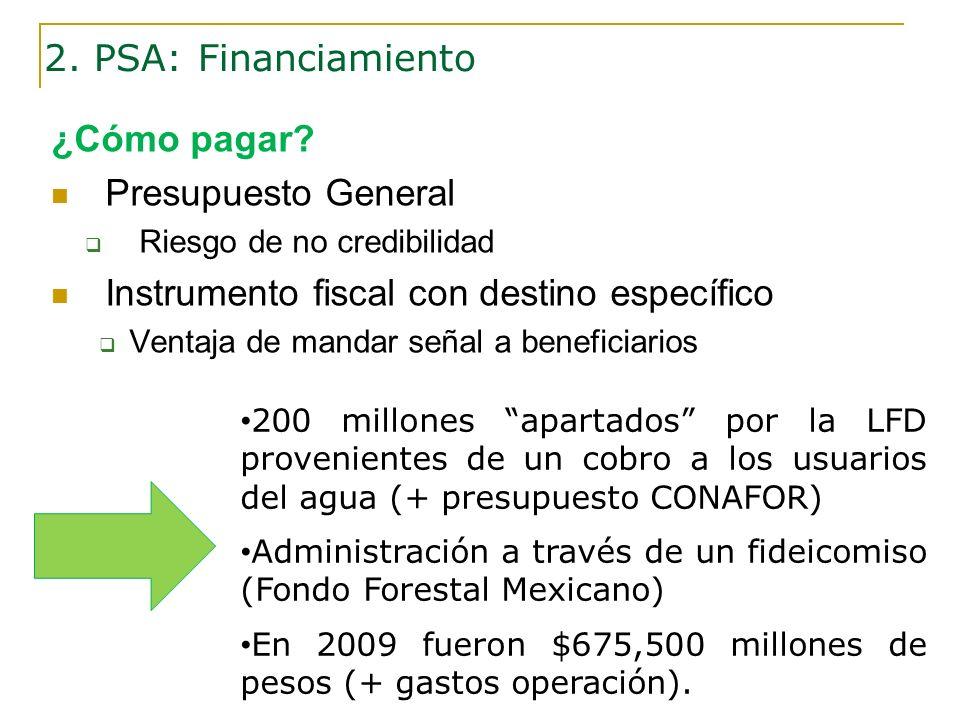 ¿Cómo pagar? Presupuesto General Riesgo de no credibilidad Instrumento fiscal con destino específico Ventaja de mandar señal a beneficiarios 2. PSA: F