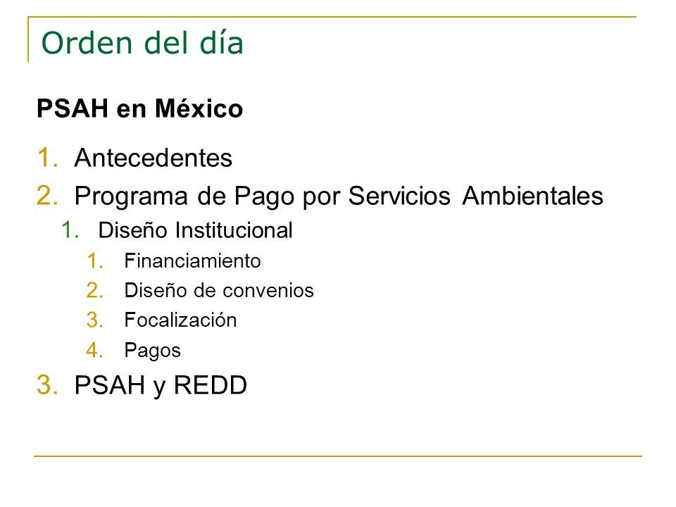 Orden del día PSAH en México 1. Antecedentes 2. Programa de Pago por Servicios Ambientales 1. Diseño Institucional 1. Financiamiento 2. Diseño de conv