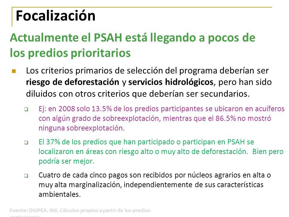 Focalización Los criterios primarios de selección del programa deberían ser riesgo de deforestación y servicios hidrológicos, pero han sido diluidos c