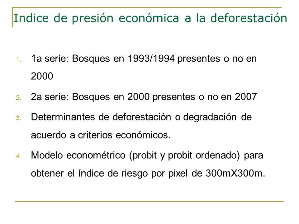 1. 1a serie: Bosques en 1993/1994 presentes o no en 2000 2. 2a serie: Bosques en 2000 presentes o no en 2007 3. Determinantes de deforestación o degra