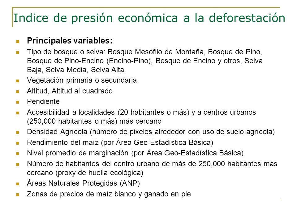 Principales variables: Tipo de bosque o selva: Bosque Mesófilo de Montaña, Bosque de Pino, Bosque de Pino-Encino (Encino-Pino), Bosque de Encino y otr