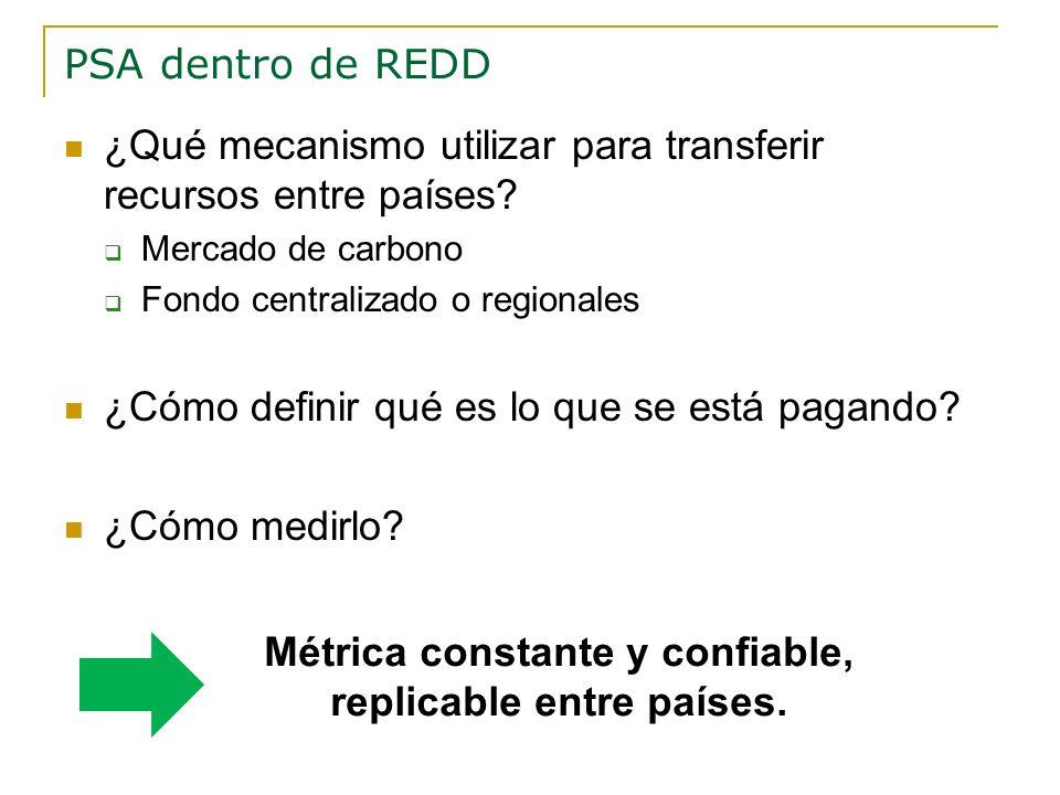 PSA dentro de REDD ¿Qué mecanismo utilizar para transferir recursos entre países? Mercado de carbono Fondo centralizado o regionales ¿Cómo definir qué