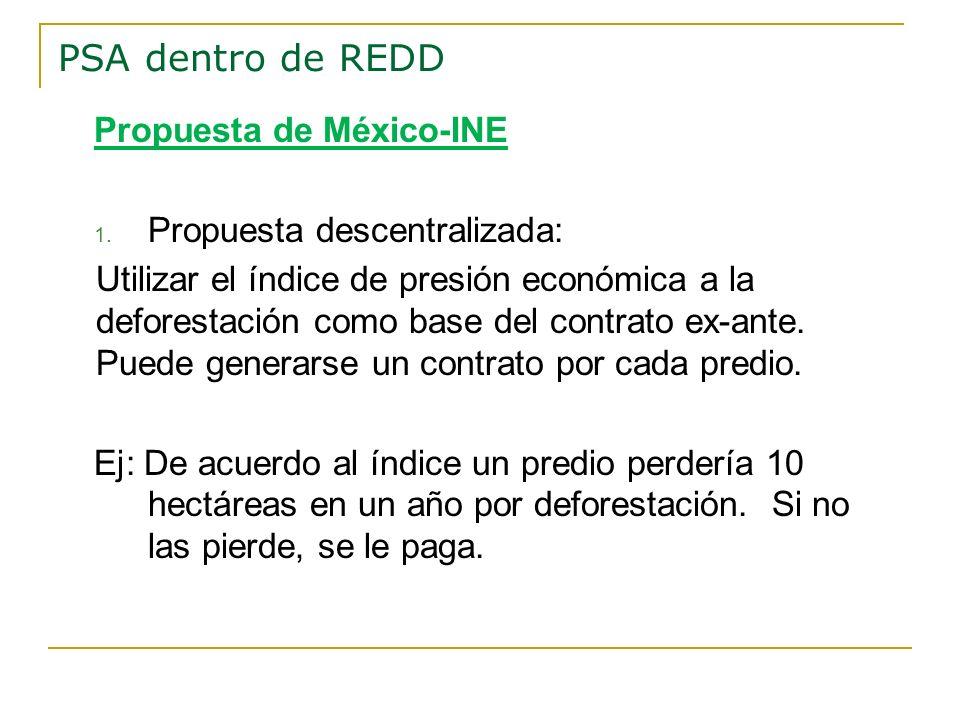 Propuesta de México-INE 1. Propuesta descentralizada: Utilizar el índice de presión económica a la deforestación como base del contrato ex-ante. Puede