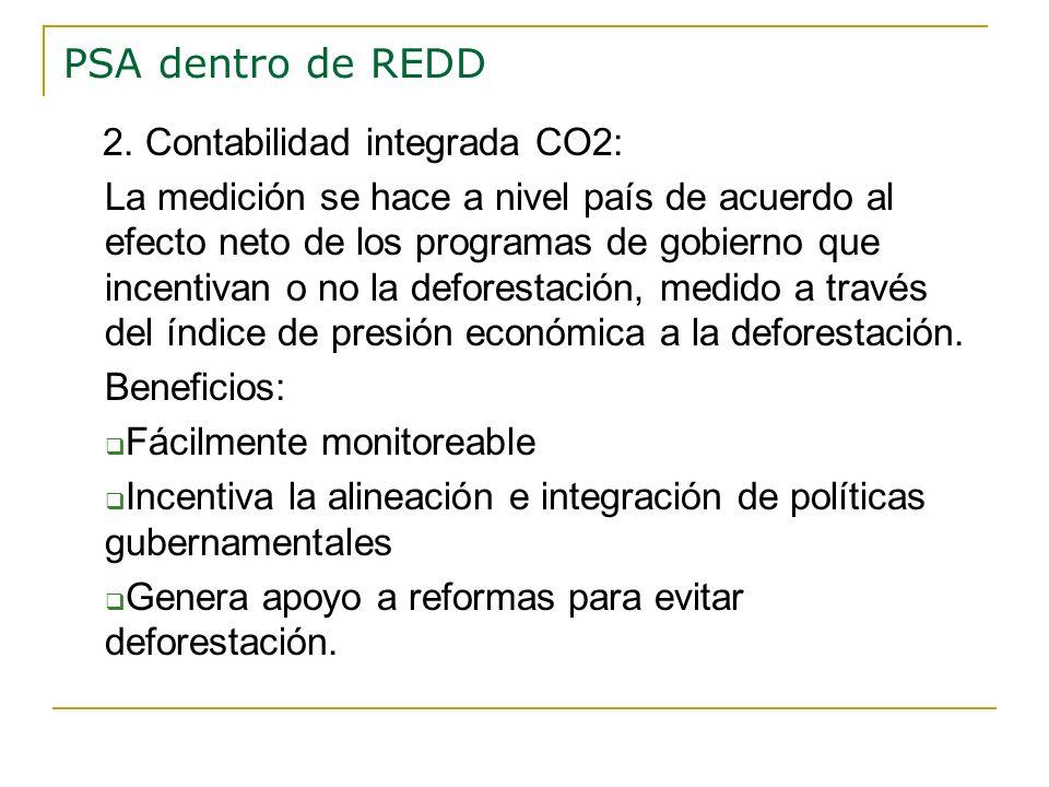 PSA dentro de REDD 2. Contabilidad integrada CO2: La medición se hace a nivel país de acuerdo al efecto neto de los programas de gobierno que incentiv