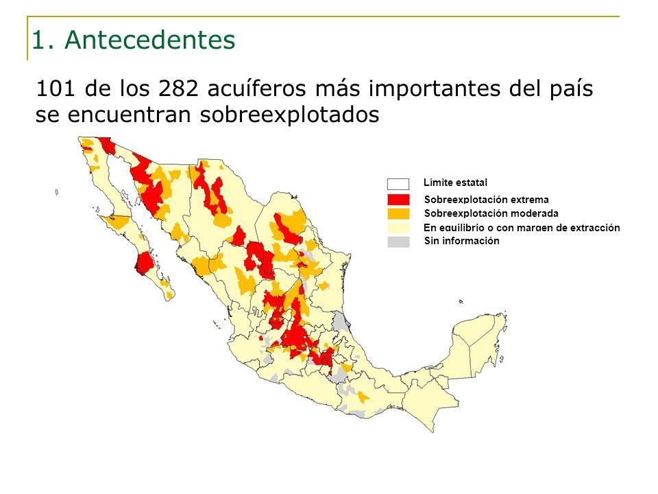101 de los 282 acuíferos más importantes del país se encuentran sobreexplotados Límite estatal Sobreexplotación extrema Sobreexplotación moderada En e