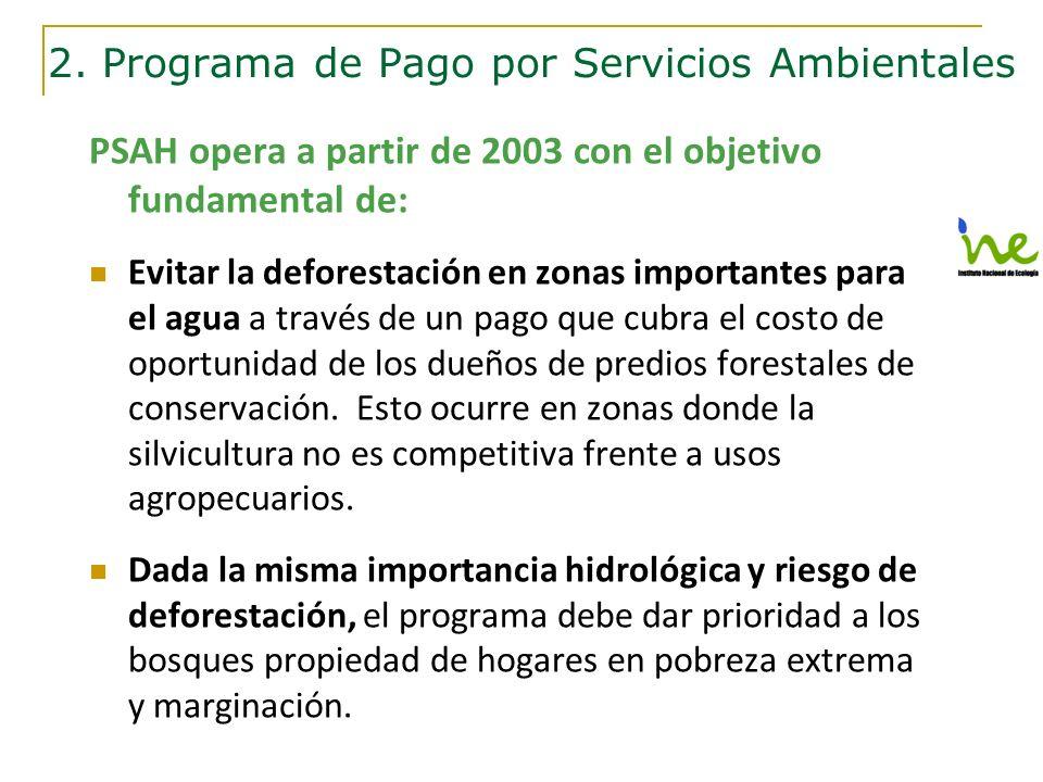 PSAH opera a partir de 2003 con el objetivo fundamental de: Evitar la deforestación en zonas importantes para el agua a través de un pago que cubra el